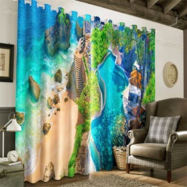 3D Exotic Seaside City and Blue Sea Printed 2 Panels Grommet Top Window Drapes