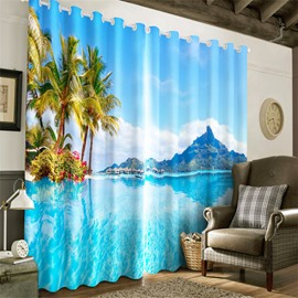 3D Blue sea and Beautiful Flowers Printed Modern and Natural Style Window Curtain