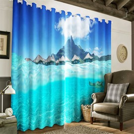 Blue Sky with White Clouds and Limpid Seawater Printing Decorative and Heat Insulation Curtain