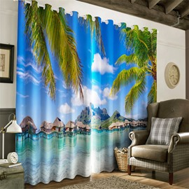 3D Blue Sky with White Clouds and Green Palm Trees Printed 2 Pieces Heat Insulation Drapes