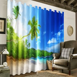 3D Green Palm Trees and Clean Sea with Blue Sky Printed 2 Panels Living Room Curtain