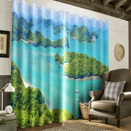 3D Small Islands in the Blue Sea Printed Living Room Decorative and Blackout Window Drapes