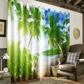 Bright Sunlight and Green Palm Trees with Beach Printed Decorative and Blackout 3D Curtain