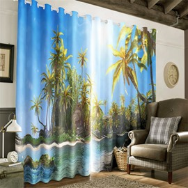 3D Bright Sunlight and Green Palm Tree with Blue Sea Printed Grommet Top Curtain