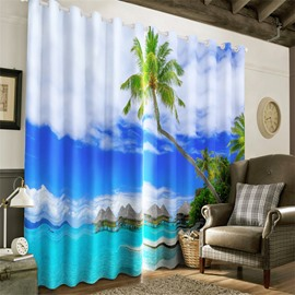 3D Green Palm Trees and Blue Sea and Clear Sky Printed Natural Beauty Window Curtain