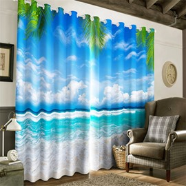 3D Waving Seas and Blue Sky with White Clouds Printed 2 Pieces Heat Insulation Drapes