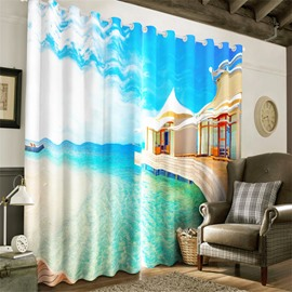 3D Peaceful Sea and Holiday Resort Printed 2 Pieces Living Room and Bedroom Blackout Curtain