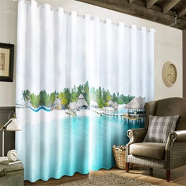 3D Pavilions on the Blue and Clean Sea Printed Modern Style 2 Panels Grommet Top Curtain