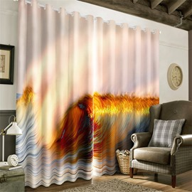 3D Abstract Waves Printed Thick Polyester 2 Panels Decorative and Heat Insulation Curtain