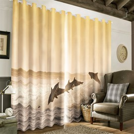 3D Jumping Dolphins and Huge Waves Printed 2 Panels Decorative and Blackout Curtain