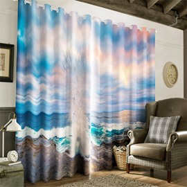 3D Huge Waves and Blue Sky Printed Natural Scenery 2 Panels Grommet Top Curtain