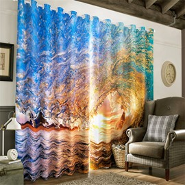 3D Rolling Waves Printed Thick Polyester Natural Power Decorative and Light Insulation Curtain