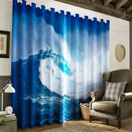 3D Brave Man Surfing in the Rolling Sea Printed 2 Panels Light Insulation Window Curtain