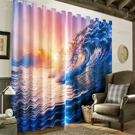 3D Rolling Waves and Golden Sunset Printed Natural Beauty Heat Insulation Window Curtain