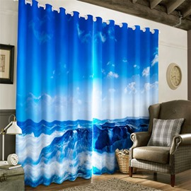 3D Blue Sky and Rolling Waves Printed Thick Polyester Home and Decorative Home Curtain