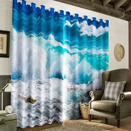 3D Clean and Choppy Seas Printed 2 Panels Living Room and Bedroom Heat Insulation Curtain