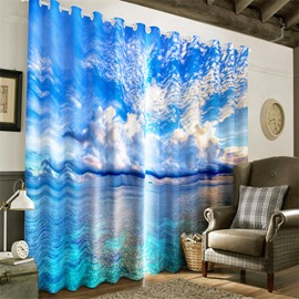 3D White Clouds with Blue Sky and Blue Seas Printed Decorative and Heat Insulation Curtain