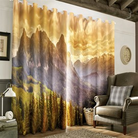 3D Steep Mountains and Yellow Grass Printed 2 Panels Decorative and Blackout Curtain