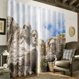 3D Skillful Portrait Sculptures on the Stones Printed Living Room and Study Room Drapes