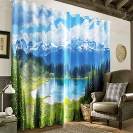 3D Rolling Ice Mountains and Frozen Lake Printed 2 Panels Living Room Curtain