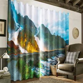 3D Torrential Waterfalls and Bid Stone Bridge Printed Decorative and Insulation Curtain