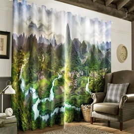 3D Green Mountains with Winding River and Small Villages Printed Pastoral Style Grommet Top Curtain