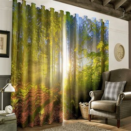 3D Misty Forest and Soft Sunlight Printed Natural Scenery Dust-Proof and Blackout Curtain