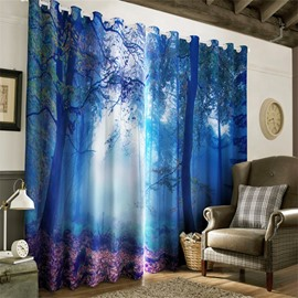 3D Misty Forest Shadowy Scenery Printed Living Room and Study Room Window Curtain
