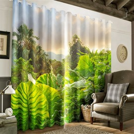 Lush Subtropical Rain-Forest Printed Natural Beauty Living Room and Bedroom Decorative Curtain
