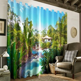 3D Green Plants and Small House Printed 2 Pieces Decorative and Heat Insulation Curtain
