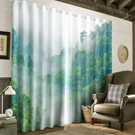 3D Mist-Shrouded Mountain Top Printed Decorative Custom Window Curtain