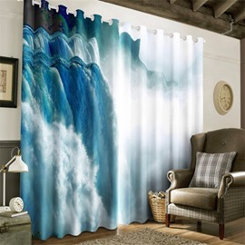 3D Running Waterfalls Printed Natural Scenery 2 Panels Decorative Custom Curtain