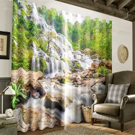 3D Stones and Green Trees Printed Natural Scenery 2 Panels Custom Curtain