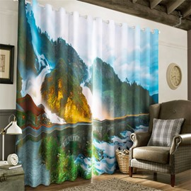 3D Stone Bridge and Rolling Mountains Printed Custom 2 Panels Living Room Curtain