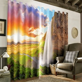 3D Thick Clouds and Bright Sunlight Printed 2 Panels Decorative Custom Curtain