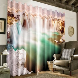 3D Broad Surging Waterfalls Printed Natural Scenery Room Darken Heat Insulated Window Drape