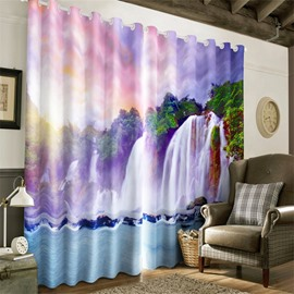 3D Thick Forest and Waterfalls Printed Natural Scenery Heat Insulation Window Drape