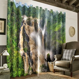 3D Rolling Waterfalls and Green Forest Printed 2 Panels Grommet Top Curtain