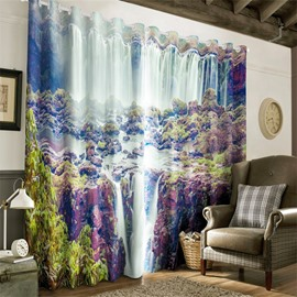 3D Swift Waterfalls and Weathered Rocks Printed 2 Panels Decorative and Blackout Curtain