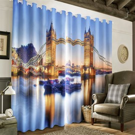 3D Grand Tower Bridge Night Scenery Printed Decorative and Heat Insulation Curtain