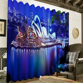 3D Wonderful Opera House in the Seaside Printed Night Scenery Custom Curtain