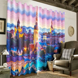 3D Grand Castles Printed Outstanding Scenery 2 Pieces Living Room Window Drape