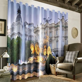 3D European Style Buildings Printed 2 Panels Living Room and Bedroom Curtain