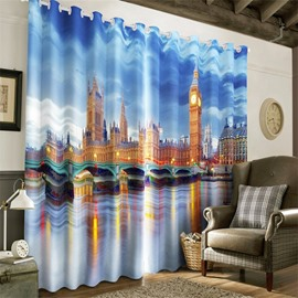 3D Big Ben in Night Printed English Buildings 2 Panels Custom Living Room Curtain