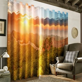 3D Great Walls and Bright Sunlight Printed 2 Panels Custom Living Room Curtain