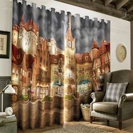 Majestic Churches Printed Night Scenery 2 Panels Custom Living Room 3D Curtain