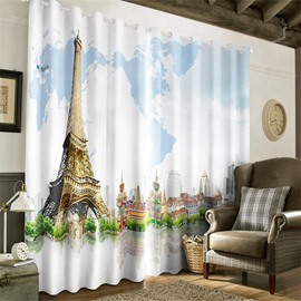 3D Golden Tower Printed Thick Polyester Decorative 2 Panels Living Room Curtain