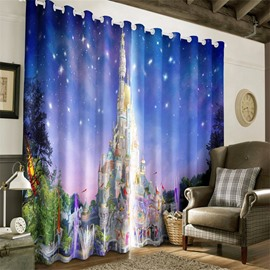 Magnificent Castles and Bright Stars Printed 2 Panels Custom for Living Room Curtain