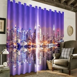 3D Modern City in the Water Night Scenery Printed 2 Panels Living Room Curtain