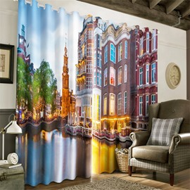 3D Modern City in the Water Printed 2 Panels Custom Grommet Top Curtain